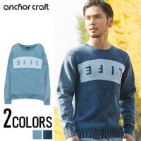anchor craft(アンカークラフト)ロゴクルーネック長袖ニットソー/全2色
