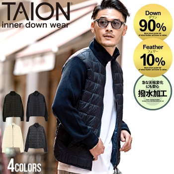 TAION(タイオン)HI NECK W-ZIP KNIT SLEEVE CDGN/全3色