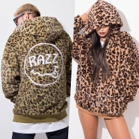 RAZZIS Leopard Zip-up fake fur hoodie / 2colors