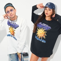 RAZZIS Smile sun Print crew neck long sleeve T-shirt / 2colors↑01